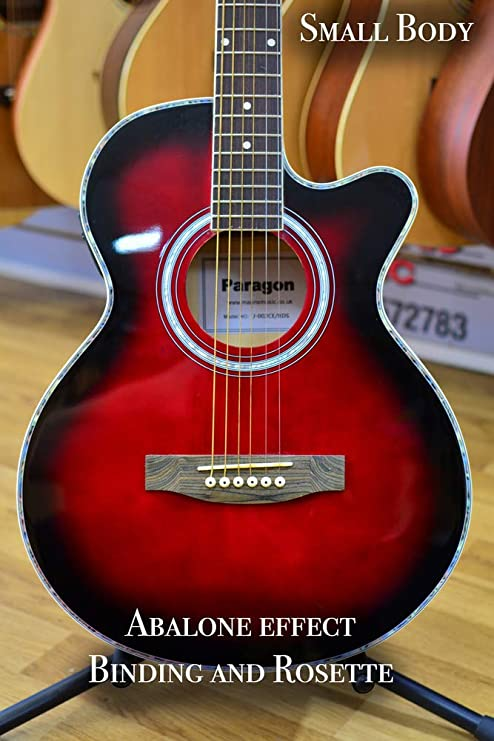 Guitarra electroacústica de Paragon, J002CE, color rojo oscuro ...