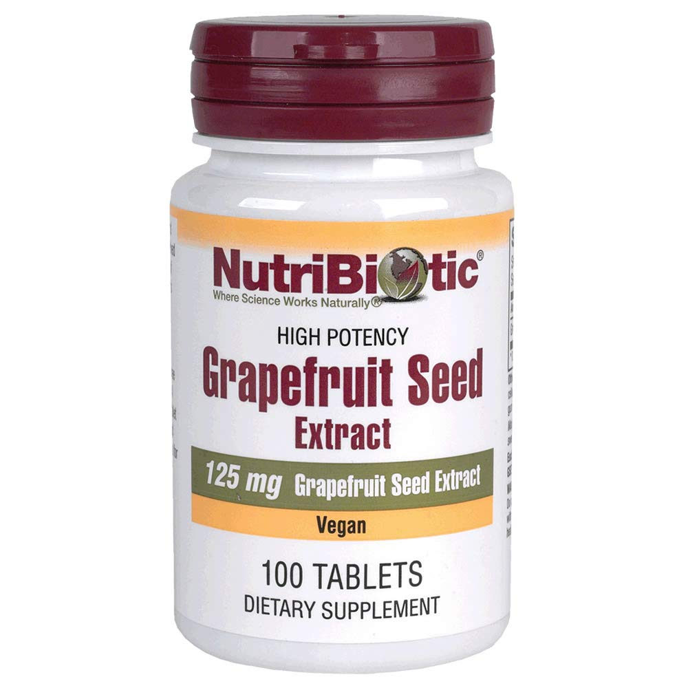 NutriBiotic Grapefruit Seed Extract Tablets 100 count 125 mg   GSE   Vegan   Potent, High Absorption   Non-GMO   Gluten Free   Dietary Supplement   Easy to swallow   No Bitter Taste