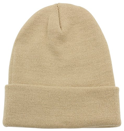 Top Level Unisex Cuffed Plain Skull Beanie Toboggan Knit Hat/Cap, Khaki