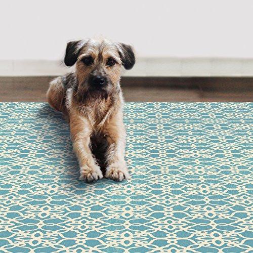 2-Piece Washable Rug System Floral Tiles Aqua Blue & White