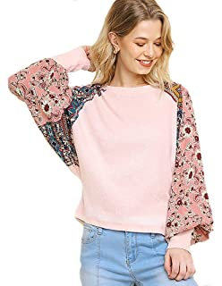 6fa0e808f534ba umgee USA Women's Floral Print Sleeve Waffle Knit Top at Amazon ...