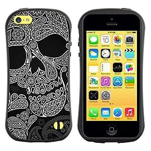 """Pulsar iFace Series Tpu silicona Carcasa Funda Case para Apple iPhone 5C , Modelo del cráneo de la tinta del tatuaje de la Muerte Rock Metal"""""""