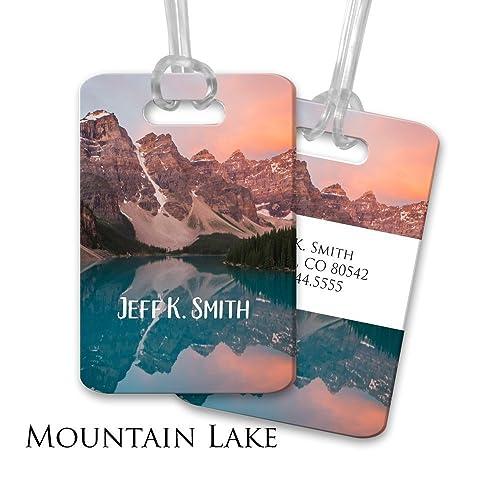 ebed7472108e Amazon.com  Custom Luggage Tag - Mountain Landscape and Lake Design - With  Acrylic Strap  Handmade