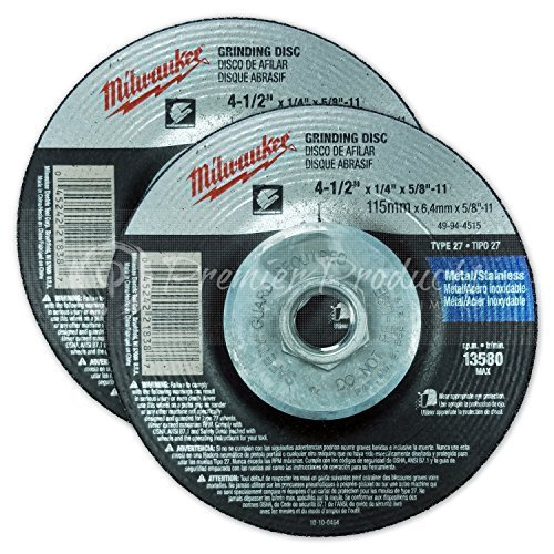 "Milwaukee® 2 Pack - 4 1 2 Hubbed Grinding Wheel For Grinders - Aggressive Grinding For Metal & Stainless Steel - 4-1/2"" x 1/4 x 7/8-Inch 