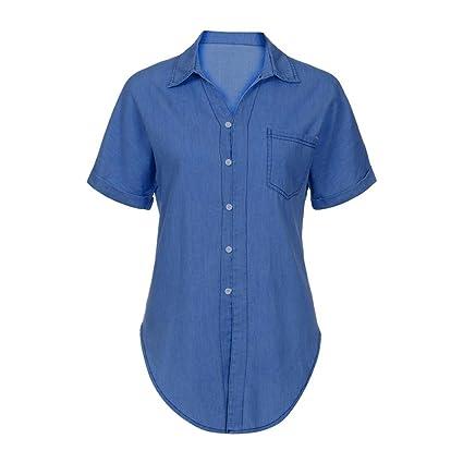 e85bf575805 YJYDADA Women Casual Soft Denim Shirt Tops Blue Jean Button Short Sleeve  Blouse Jacket (Dark