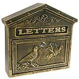 PrimeMatik - Vintage letter mail post box mailbox letterbox antique oxide color cast iron for wallmount birds