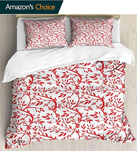 Red Modern Pattern Printed Duvet Cover,Curvy Branches of a Spring Forest Tree Full of Leaves Victorian Garden Inspirations Soft Microfiber Bedspread Coverlet Bedding 79