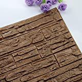 Pet1997 Self-adhesive 3D Brick Wall Sticker, DIY 3D Brick PE Foam Wallpaper Panels, Room Decal Stone Decoration For Home Living, Bedroom, Kitchen - 23.62Inch x 11.81Inch (S)
