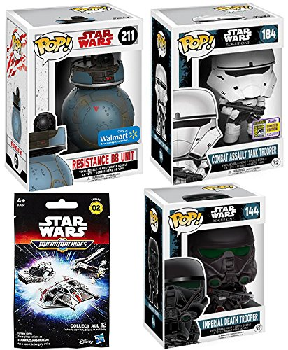 Exclusive Funko Star Wars Pop! figures Death Trooper / Resistance Vinyl BB Unit SDCC Combat Assault Tank Trooper #184 Character Bobble-Head Set & Micromachines Blind Bag Star Ship