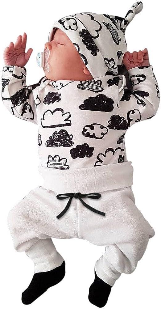 Covermason Bebé Unisex Nube Impresión Camisetas y Pantalones y Sombrero (3PCS/1 Conjunto) (6-12M, Blanco)