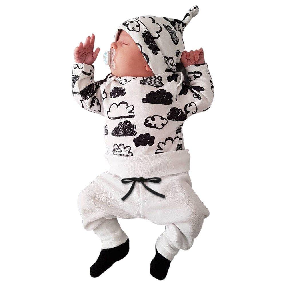 Pantaloni cap Set Vestiti per Bambini Costume Chic DAY8 Completini Neonato Cotone per 0~18 Mesi Regalo Neonato Baby Cloud Print Shirt Tops