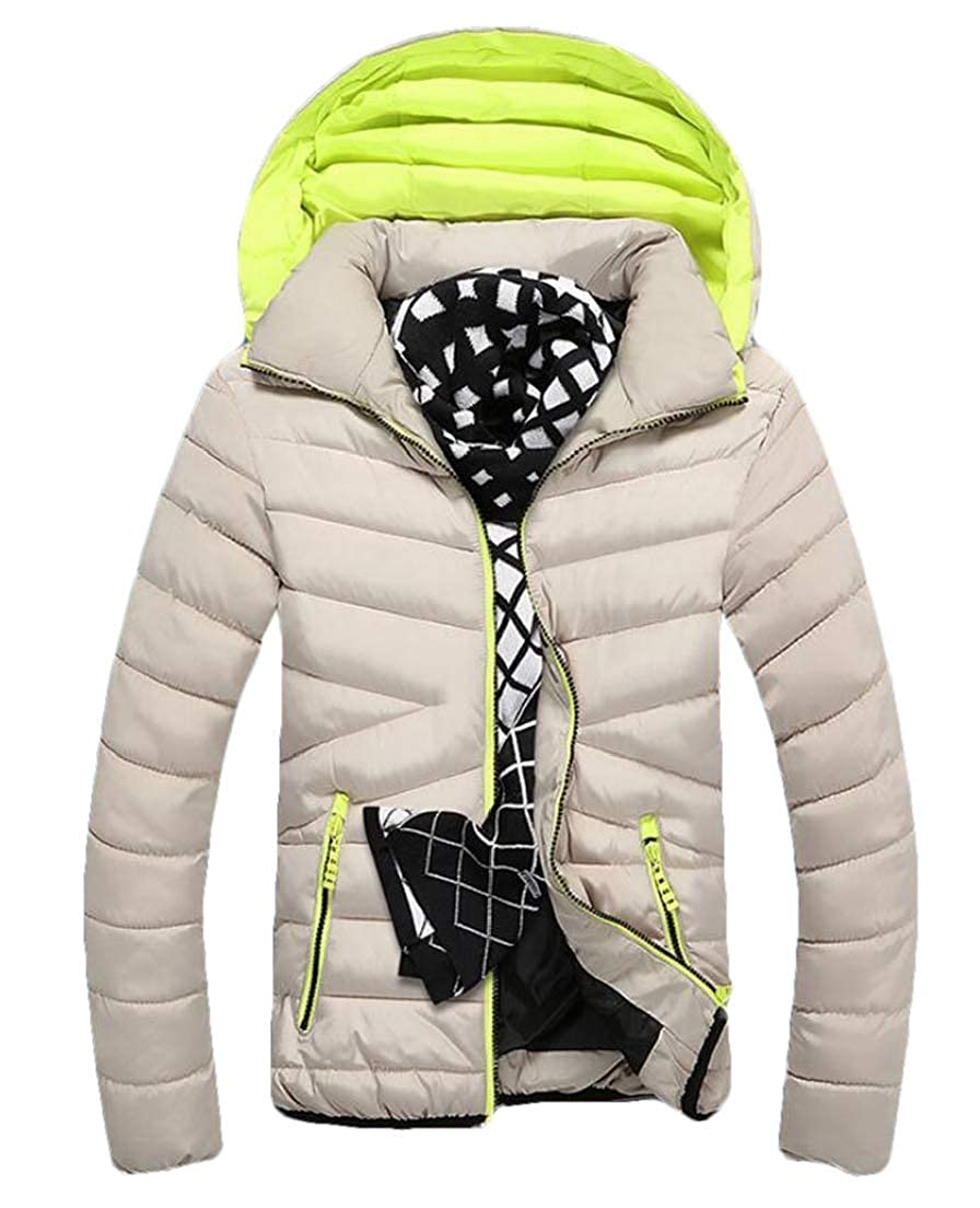 Zantt Men Zip-Up Stand Collar Winter Padded Hooded Down Jacket Coat