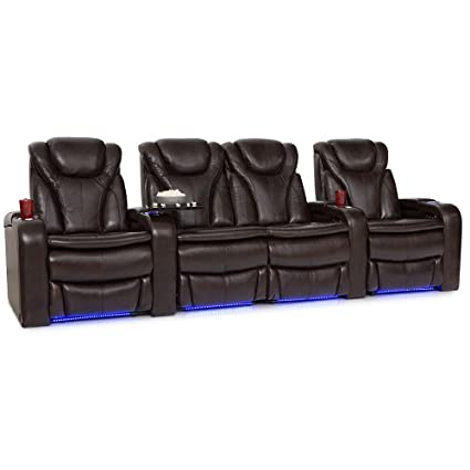 Superb Barcalounger Solaris Leather Power Recline Home Theater Seating Chairs Row Of 4 W Center Loveseat Brown Ibusinesslaw Wood Chair Design Ideas Ibusinesslaworg
