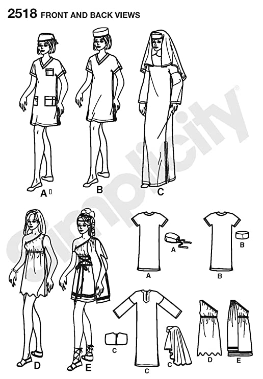 Simplicity A xs-s-m-l-xl Schnittmuster 2518 Misses Costumes: Amazon ...