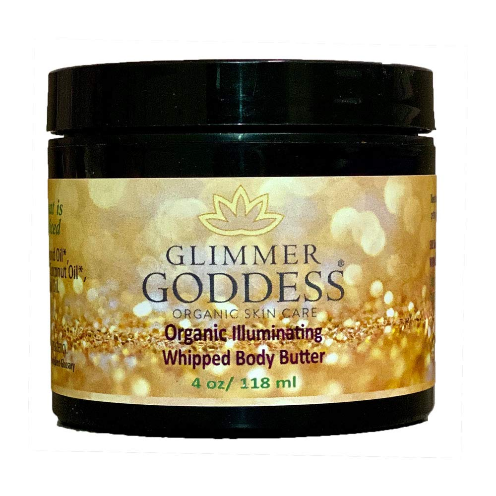 Organic Gold Body Shimmer Whipped Body Butter – Sexy Sparkle For Natural Skin Radiance – Chemical Free Shimmering Moisturizer - Glimmer Goddess