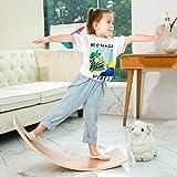 HAJACK Wooden Balance Board, Wobbel Curvy Board for Kids&Adults, Natural Wood Rocker Board, Great Kids Learning Toy for Body