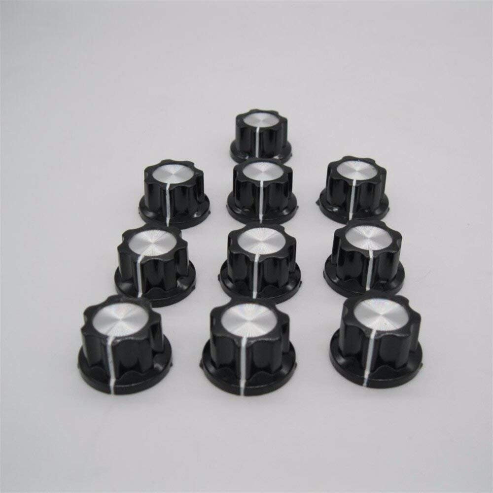 10pcs Silver Tone Top Rotary Knobs for 6 mm Dia Potentiometer Switch Knob Top Diameter Shaft 19mm Black A02-6mm Taiss