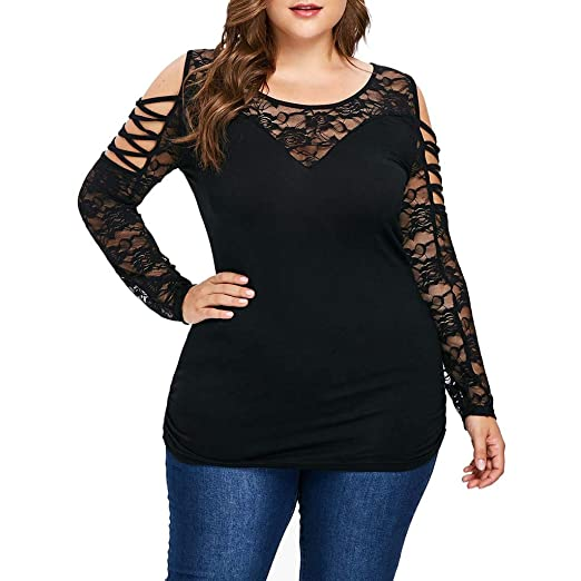 517140673f27c0 Funic Spring Fashion Womens Plus Size Blouse Cold Shoulder Lattice Lace  Sleeve Tee O-Neck