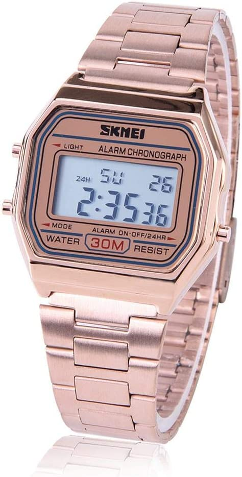 Reloj Electrónico 3 Colores Reloj Digital LED Correa de Acero Inoxidable Esfera Rectangular