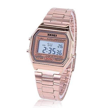 Reloj Electrónico 3 Colores Reloj Digital LED Correa de Acero Inoxidable Esfera Rectangular(Oro Rosa