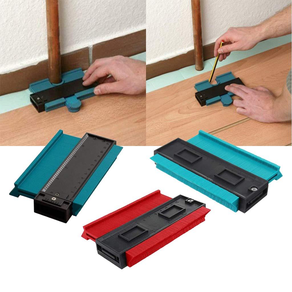 2 Pieces Contour Gauge Duplicator 5 Inch Plastic Profile Copy Gauge Ruled Contour Duplication Tiling Laminate Measure Tool Blue /& Red