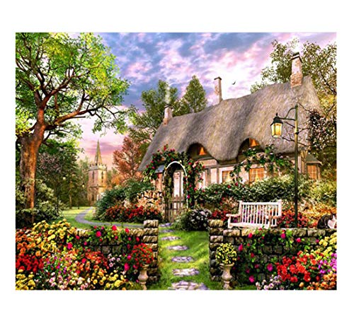 Tutu Vivi Frame Diy Oil Painting Paint By Number Kit 16x20 Inch Linen Canvas Without Frame Small Courtyard
