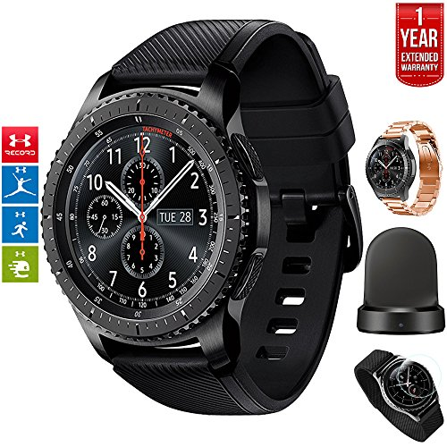 Samsung Gear S3 Bluetooth Watch with Built-in GPS with Wireless Charger Bundle + Silver Wrist Band + 1 Year Extended Warranty (S3 Frontier+Rose Gold Band Bundle) by Beach Camera