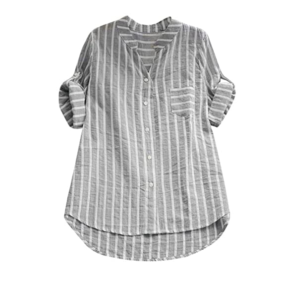 5f72a59b Voberry@ Women's Loose Blouse, Cotton Striped Three Quarter Sleeve Casual  Loose Button Tops Small. Roll over image to zoom in