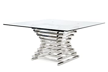 Tremendous Limari Home The Penrod Collection Modern Stainless Steel Metal Smoked Tempered Glass Contemporary Square Kitchen Dining Room Table Gmtry Best Dining Table And Chair Ideas Images Gmtryco