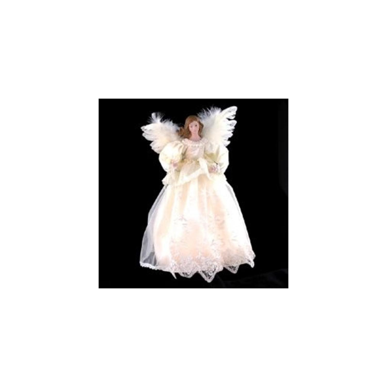 14.5'' Victorian Inspirations Lace Angel Christmas Tree Topper - Clear Lights