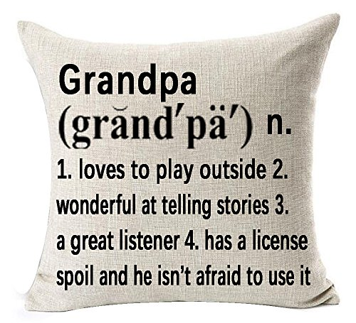Best Grandpa Gifts Warm Sweet Sayings Grandpa Loves To Play Wonderful At Telling Stories Explanation Words Letters Cotton Linen Throw Pillow Case Cushion Cover NEW Home Decorative Square 18X18 Inches