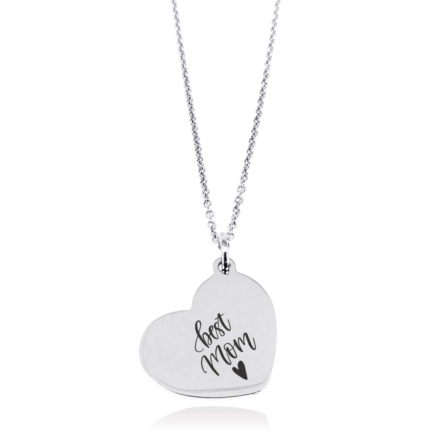Tioneer Stainless Steel Best Mom /& Heart Floating Heart Tag Charm Pendant Necklace