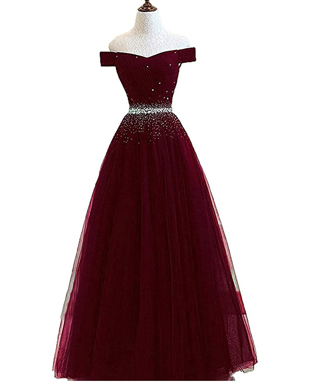 Dark Burgundy alilith.Z Sexy Off The Shoulder A Line Prom Dresses Crystal Beaded Long Formal Evening Dresses Party Gowns for Women