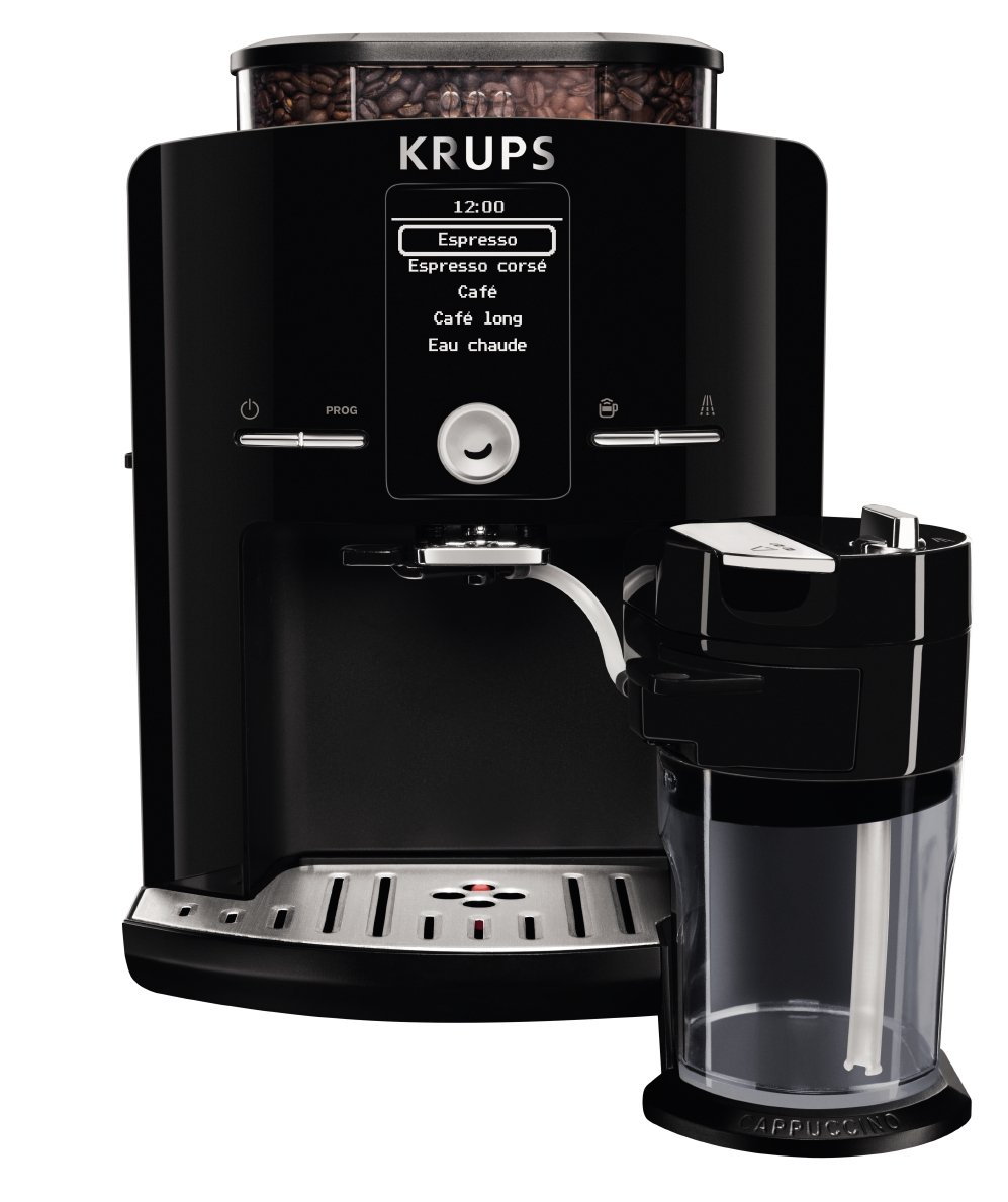 KRUPS EA8298 Fully Automatic Latte Espresso Compact Size Espresso Machine with Integrated Frothing Pitcher Cappuccino and Milk Frother