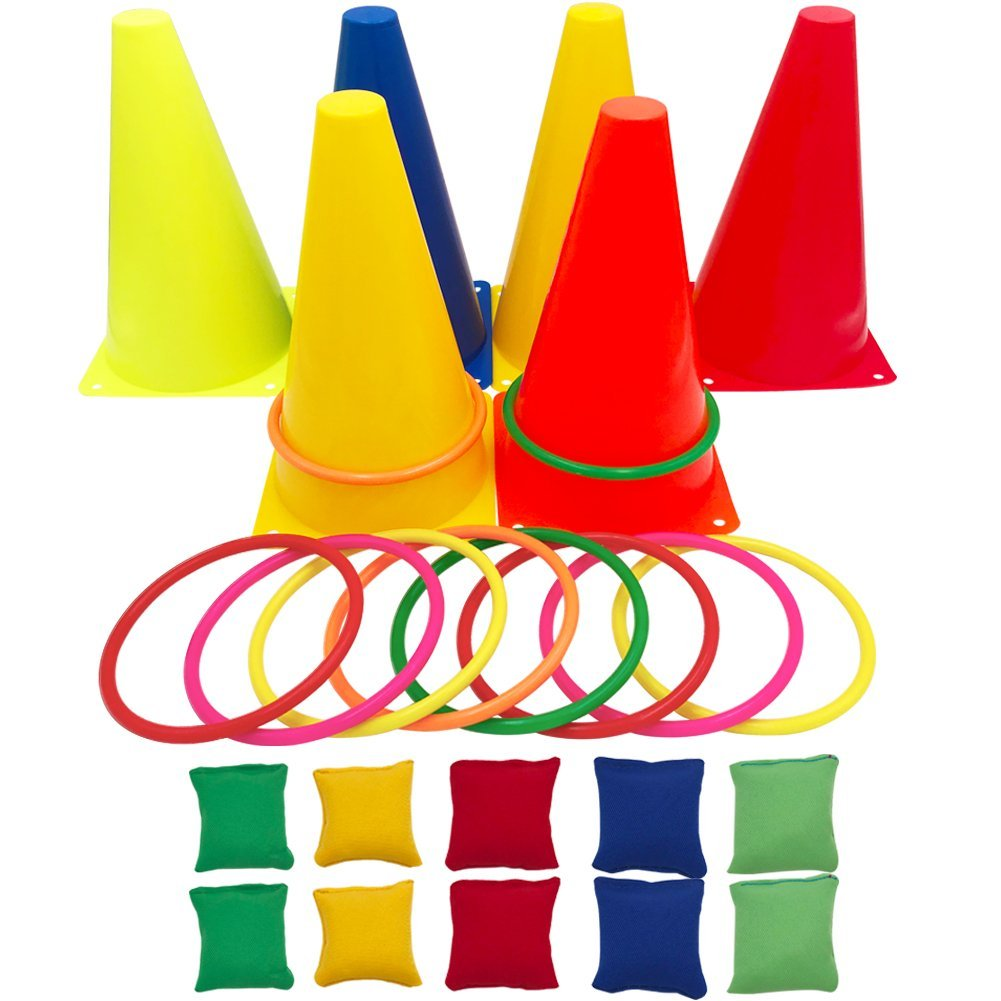 Hokic 3 in 1 Carnival Games Set, Soft Plastic Cones Set Bean Bag Ring Toss Games for Birthday Party Outdoor Games Supplies