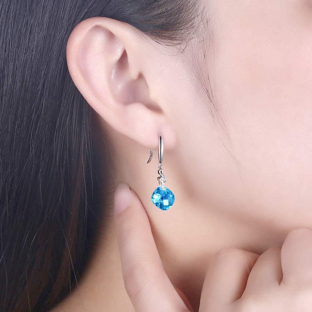 Zehaer Home European and American Fashion Ear Jewelry Sterling Silver 925 Ladies Long Zircon Earrings Color : Blue, Size : 925 Silver Color : Blue, Size : 925 Silver Stud Earrings