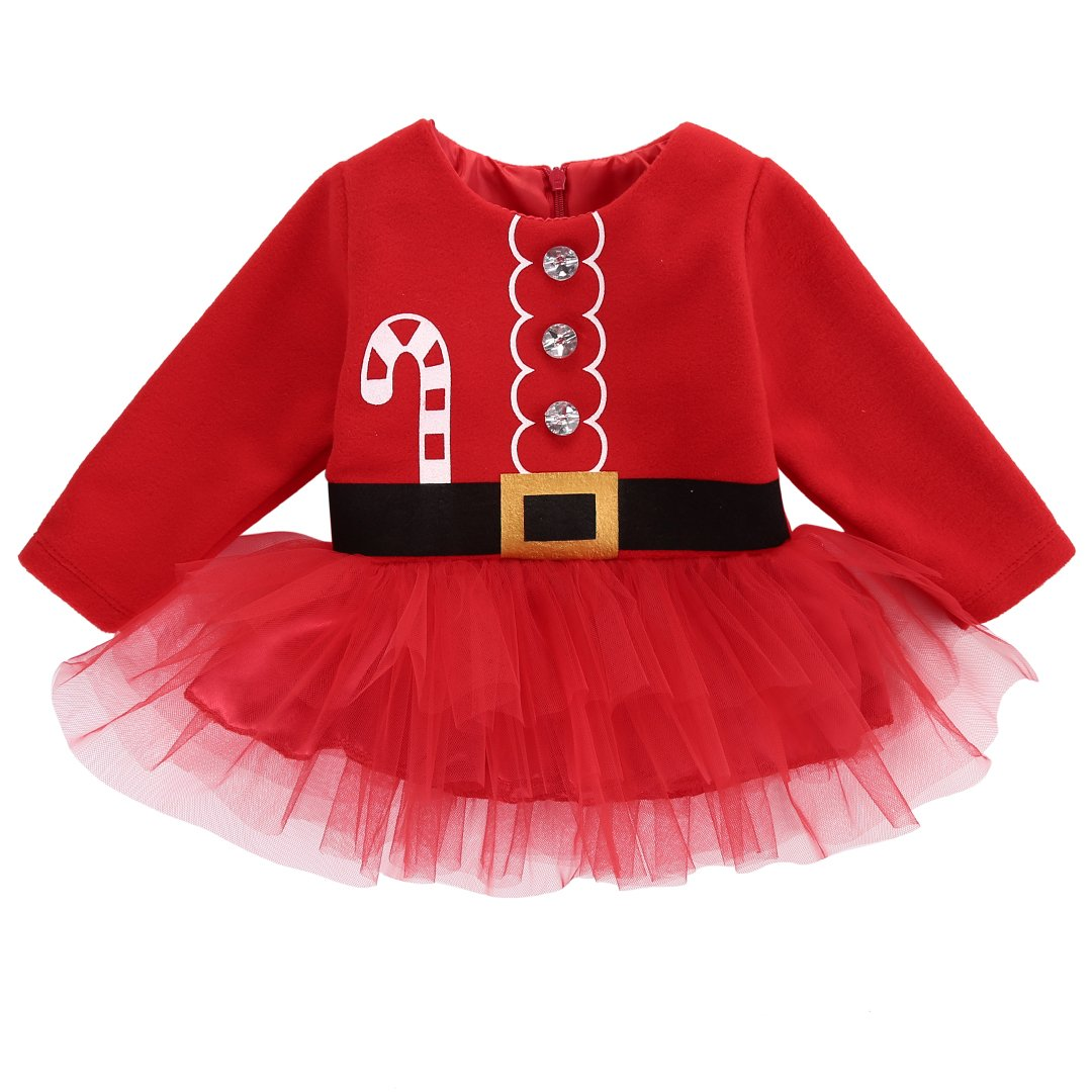 Flower Tiger Baby Girl Christmas Crystal Long Sleeve Tulle Layer Zipper Red Dresses