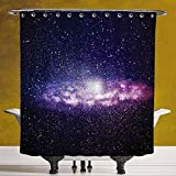Funky Shower Curtain 3.0 by SCOCICI [ Galaxy,Nebula Cloud in Milky Way Infinity in Interstellar Solar System Design Print,Purple Dark Blue ] Bathroom Accessories with Hooks