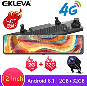 EKLEVA 12 Inch Mirror Dash Cam Dual Lens FHD 1080P 4G Android8.1 RAM2GB ROM32GB Stream Media Car Rearview Mirror Bluetooth Camera Car DVR ADAS Night Vision WiFi GPS Nav Dash Cam