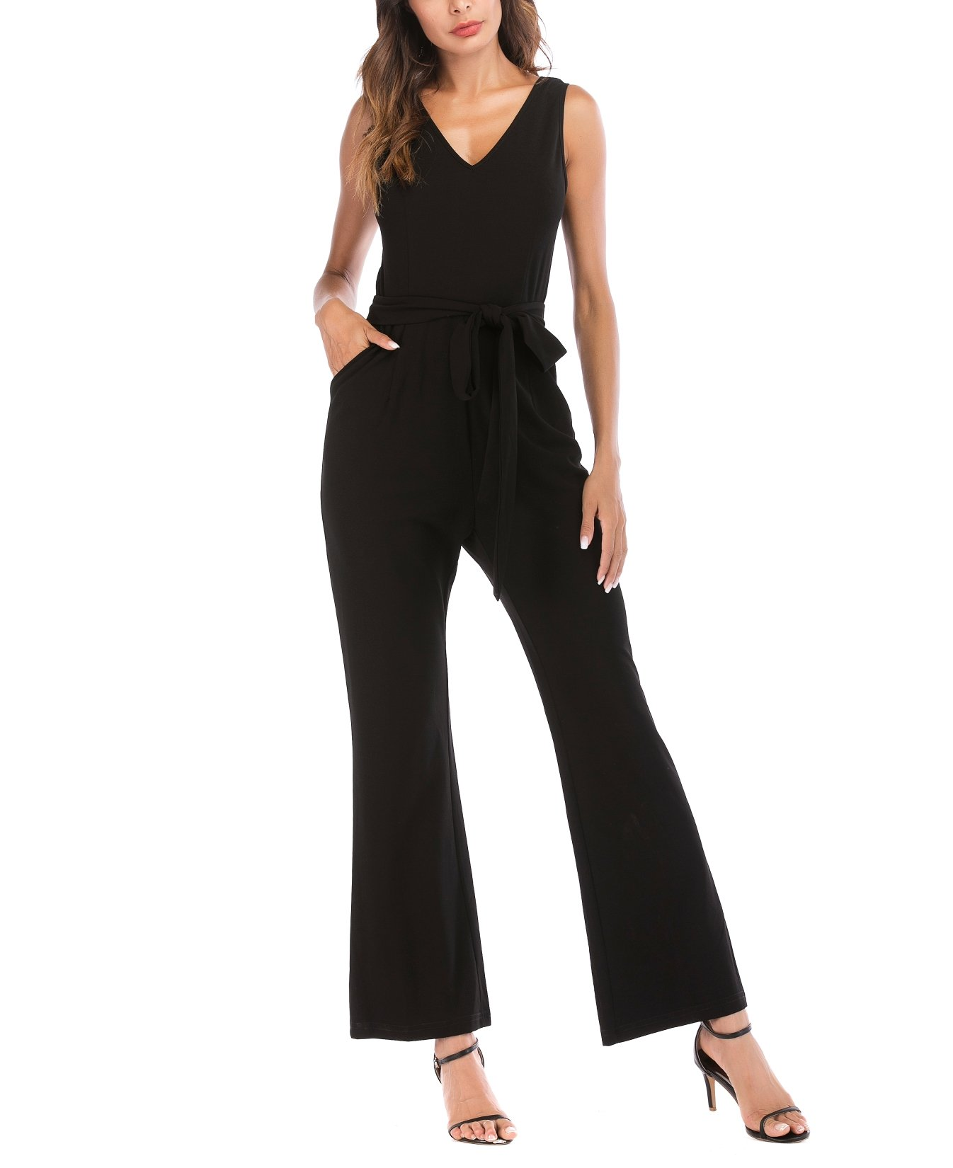 SUNNOW Women V Neck Jumpsuit Sleeveless High Waist Long Overalls Elegant Romper (S(US4-6), Black)