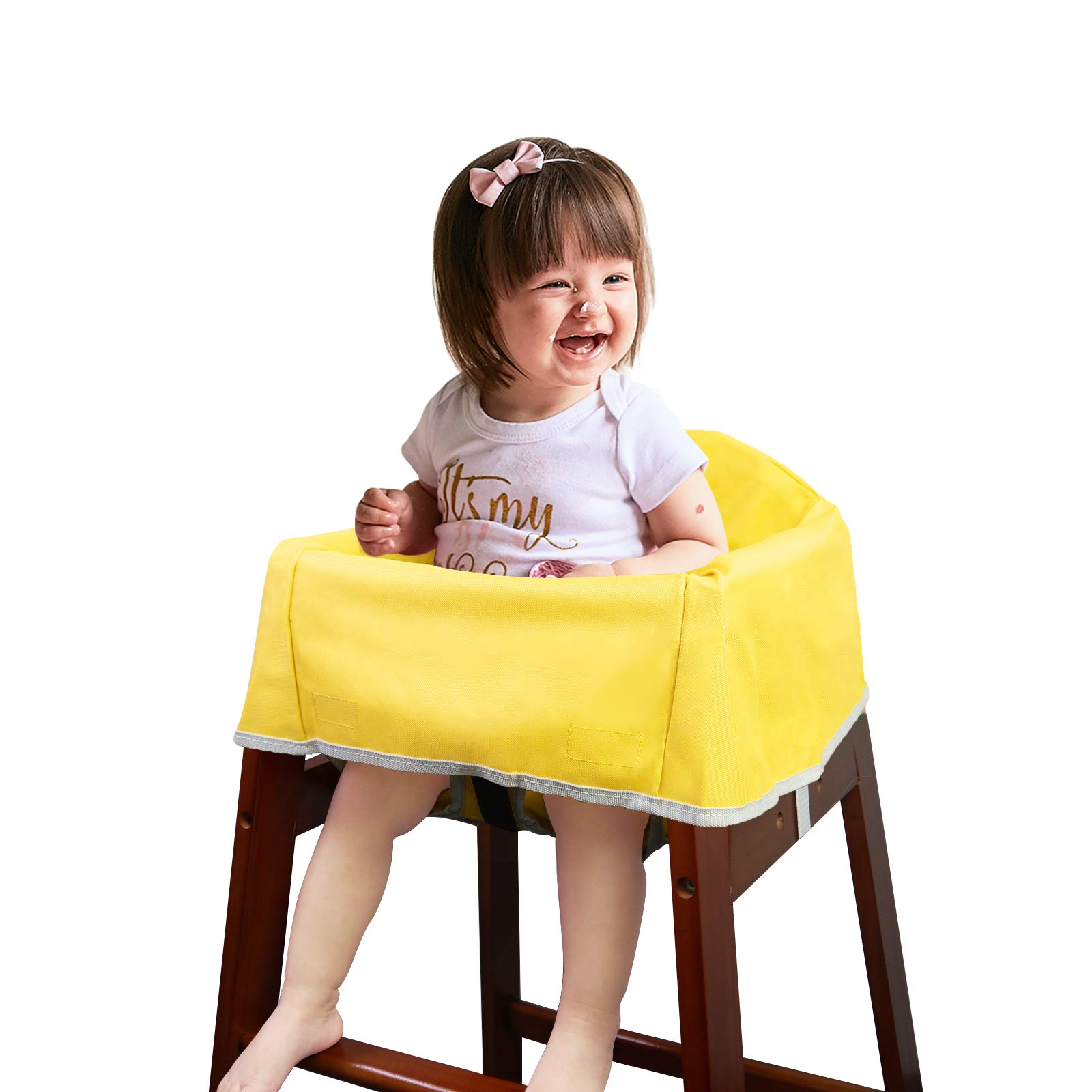 Solfres Dual-Belt High Chair Cover, Baby High Chair Cover with Straps, for Kids Wooden or Restaurant High Chair, Sturdy and Robust Material, Yellow by Solfres