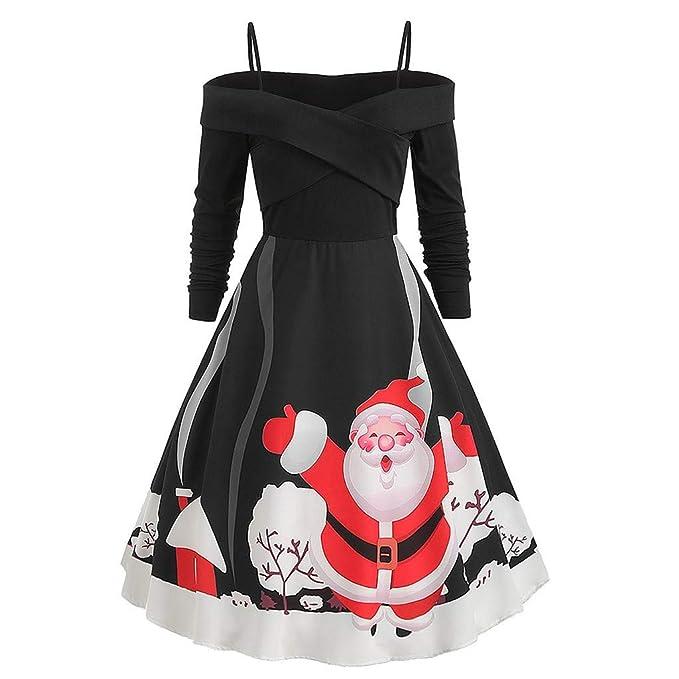 CLOOM Navidad Vestido Mujer Cruzado Sexy Vestidos para Mujer ...