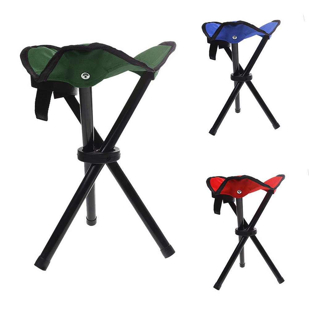 pushfocourag Lightweight outdoor folding chair portable outdoor camping garden travel canvas tripod stool portable three-foot stool outdoor fishing stool mini beach triangle stool - Random Color