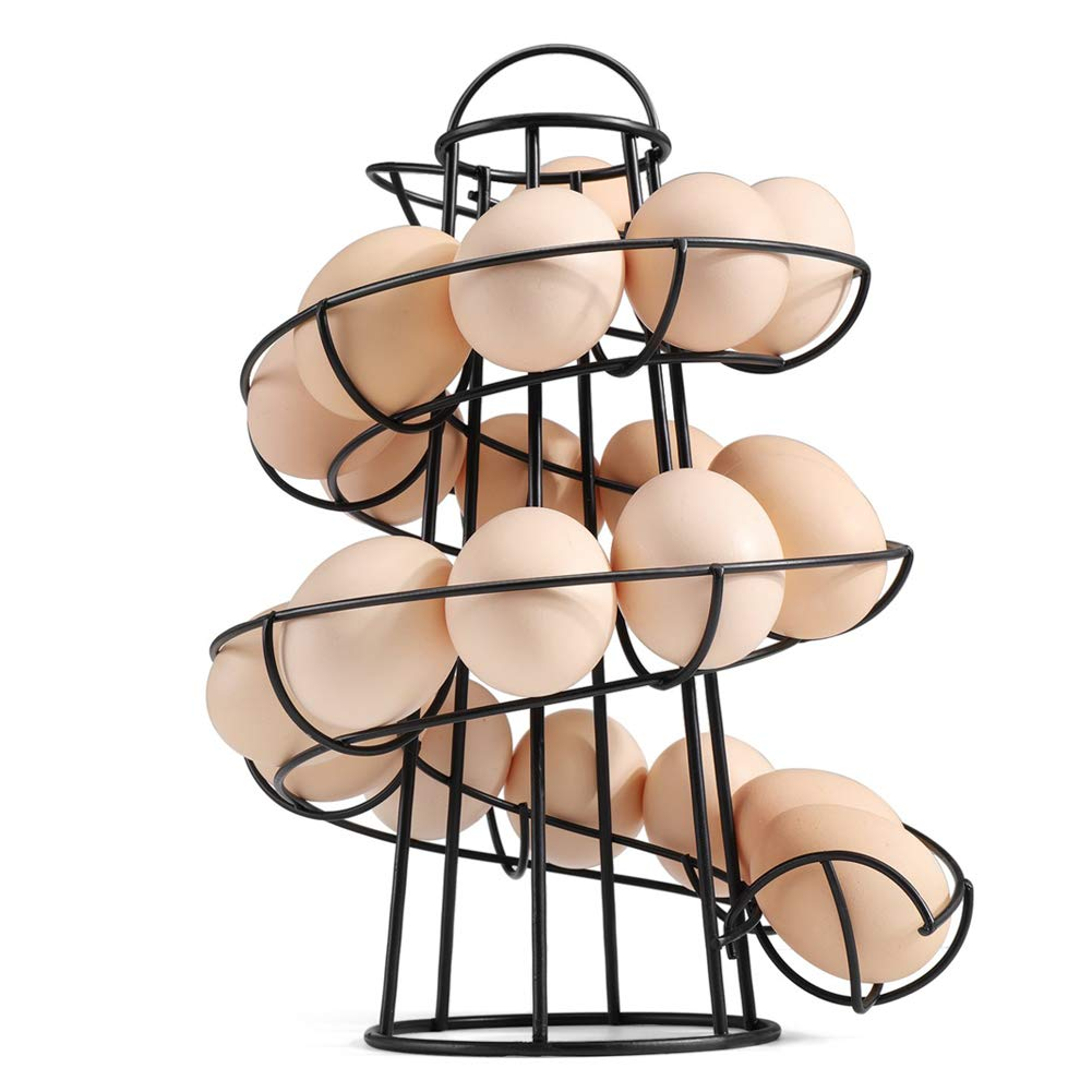 Fun Egg Storage Rack Moderne Egg Spiraling Dispenser Platzsparend Eisen Egg Holder Stand f/ür K/üchenarbeitsplatte Haushaltswaren Aeebuy Egg Holder