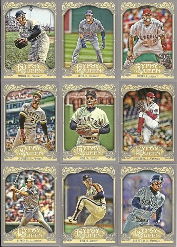 2012 Topps Gypsy Queen Baseball Series Complete Mint Hand Collated Basic 300 Card Set. Loaded with Your Favorite Stars and Hall of Famers Including Babe Ruth, Mickey Mantle, Sandy Koufax, Jackie Robinson, Roberto Clemente, Ty Cobb, Roger Maris, Lou Gehrig, Cal Ripken Jr., Nolan Ryan, Derek Jeter, Albert Pujols and Many Others