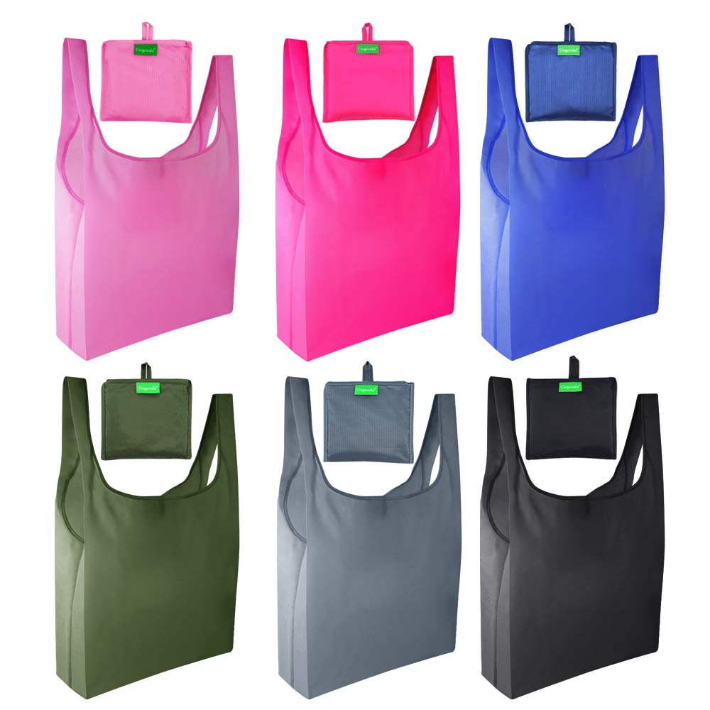 6 Pcs Reusable Grocery Bags, Heavy Duty Shopping Merchandise Bags with Foldable into Attached Pouch Design, Ripstop Grocery Tote (Moss, Pink, Rose, Black, Gray, Navy Blue)