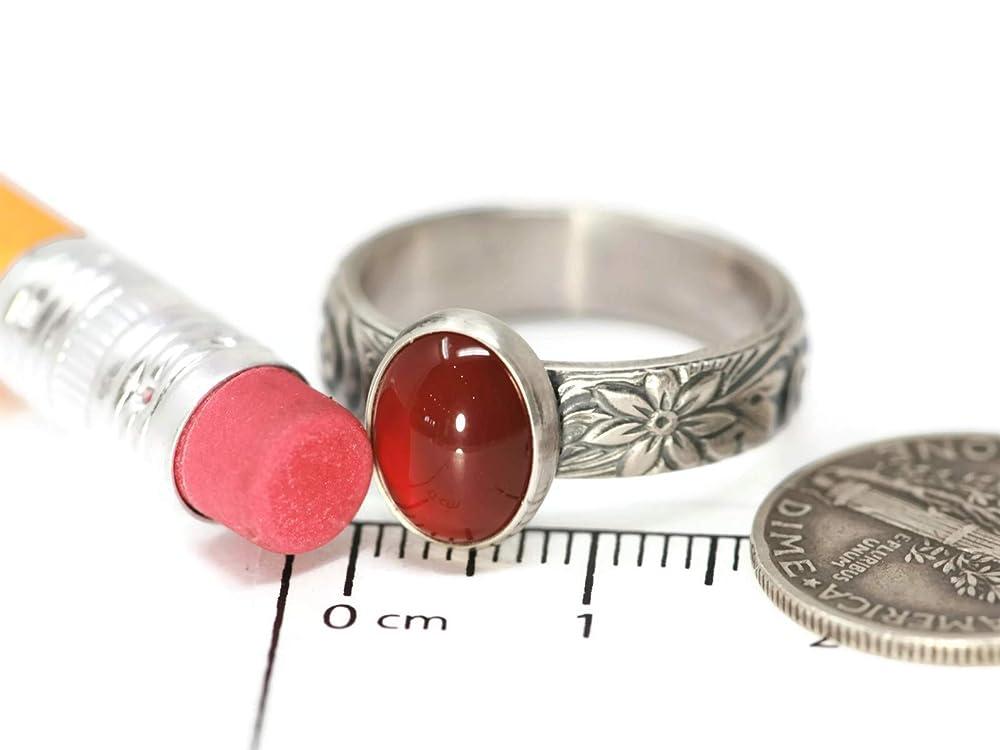 Size 4 12 Vintage Sterling Silver Red Resin Floral Ring