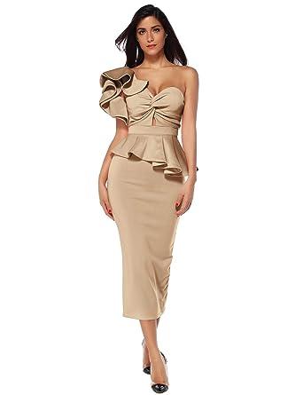f64546ff312 Meilun Women Celebrity Evening Party Dress Bodycon Sets One Shoulder  Ruffles Club Dress (Beige,