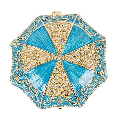 QIFU-Hand Painted Enameled Umbrella Shape Decorative Hinged Jewelry Trinket Box Unique Gift for Home Decor ()