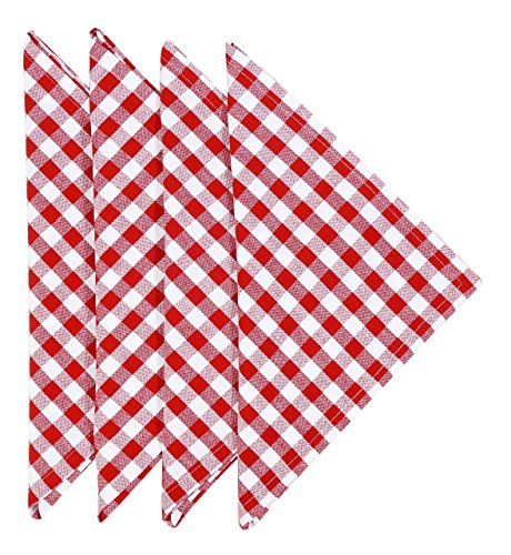 Primitive Art Cloth Napkins 22 Inches Linen Napkins Table Linens Cotton Fabric Set of 4 Red Country Check